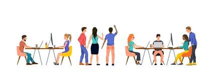 Ομάδα ανθρώπων σε ένα γραφείο που λειτουργεί ομαδικά διανυσματική απεικόνιση