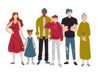 Ομάδα ανθρώπων της διαφορετικής παιδικής ηλικίας ηλικιών, νεολαία, μέσος και παλαιός διανυσματική απεικόνιση