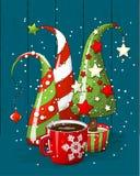 Ομάδα αφηρημένων χριστουγεννιάτικων δέντρων και φλυτζανιού καφέ, διακοπές κινητήριες, απεικόνιση διανυσματική απεικόνιση