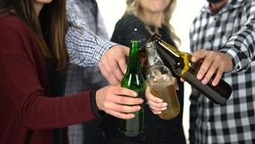 Ομάδα γυαλιών κουδουνίσματος φίλων με τα μπουκάλια μπύρας απόθεμα βίντεο