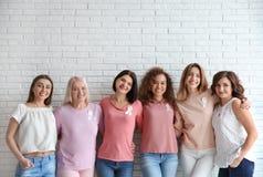 Ομάδα γυναικών με τις κορδέλλες μεταξιού κοντά στο τουβλότοιχο στοκ εικόνες