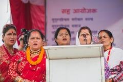 Ομάδα γυναικών που τραγουδούν το τραγούδι Gaura στο φεστιβάλ Gaura στο Κατμαντού στοκ φωτογραφία με δικαίωμα ελεύθερης χρήσης