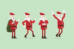 Ομάδα διανύσματος Άγιου Βασίλη Χριστουγέννων διανυσματική απεικόνιση