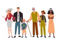 Ομάδα διαφορετικής μικτής άνθρωποι ηλικίας που στέκεται από κοινού απεικόνιση αποθεμάτων