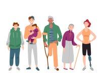 Ομάδα διαφορετικής μικτής άνθρωποι ηλικίας που στέκεται από κοινού διανυσματική απεικόνιση