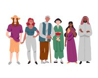 Ομάδα διαφορετικών πολυ-εθνικών ανθρώπων που στέκονται από κοινού απεικόνιση αποθεμάτων