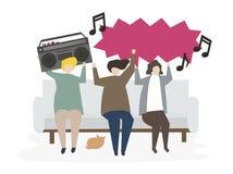 Ομάδα διευκρινισμένων φίλων που ακούνε τη μουσική διανυσματική απεικόνιση