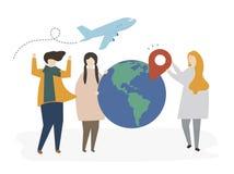 Ομάδα διευκρινισμένων φίλων που προγραμματίζουν για ένα ταξίδι ελεύθερη απεικόνιση δικαιώματος