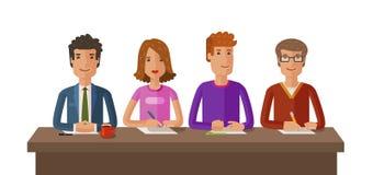 Ομάδα δικαστών ή σπουδαστών Διαγωνισμός, εκπαίδευση, έννοια μελέτης Διανυσματική επίπεδη απεικόνιση διανυσματική απεικόνιση
