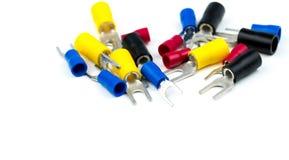 Ομάδα εξαρτημάτων συνδετήρων ηλεκτρικών καλωδίων τερματικών φτυαριών στοκ εικόνα