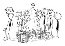 Ομάδα επιχειρηματιών γραφείων γύρω από το χριστουγεννιάτικο δέντρο Στοκ φωτογραφία με δικαίωμα ελεύθερης χρήσης