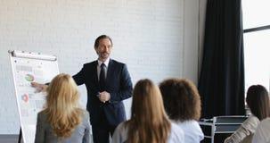 Ομάδα επιχειρηματιών στην παρουσίαση στη αίθουσα συνδιαλέξεων που ακούει τον επιτυχή κύκλο μαθημάτων κατάρτισης επιχειρηματιών φιλμ μικρού μήκους