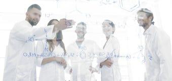 Ομάδα εργαστηριακών επιστημόνων που συζητούν την έρευνά τους στο εργαστήριο Στοκ φωτογραφίες με δικαίωμα ελεύθερης χρήσης