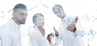Ομάδα εργαστηριακών επιστημόνων που συζητούν την έρευνά τους στο εργαστήριο Στοκ Εικόνα