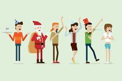 Ομάδα ευτυχών ανθρώπων και Άγιου Βασίλη κομμάτων διανυσματική απεικόνιση