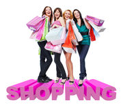 Ομάδα ευτυχών γυναικών με τις τσάντες αγορών στοκ εικόνα με δικαίωμα ελεύθερης χρήσης