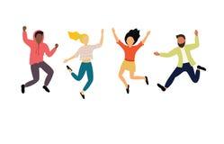 Ομάδα ευτυχών χορεύοντας νέων ή αρσενικών και θηλυκών χορευτών που απομονώνονται στο άσπρο υπόβαθρο Χαμογελώντας νεαροί άνδρες κα απεικόνιση αποθεμάτων