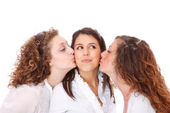 Ομάδα ευτυχών όμορφων γελώντας κοριτσιών Στοκ φωτογραφία με δικαίωμα ελεύθερης χρήσης