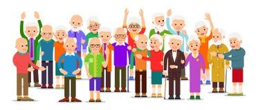Ομάδα ηλικιωμένου ανθρώπου Ηληκιωμένοι και γυναίκες πλήθους Εύθυμοι ανώτεροι άνθρωποι υπαίθρια Ευτυχές ταξίδι ζευγών από κοινού Τ ελεύθερη απεικόνιση δικαιώματος