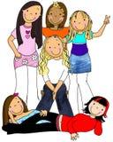Ομάδα κοριτσιών διανυσματική απεικόνιση