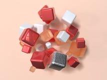Ομάδα κόκκινης άσπρης πορτοκαλιάς γεωμετρικής τρισδιάστατης δίνοντας αφηρημένης σκηνής μετεωρισμού μορφής στοκ εικόνες