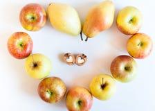 Ομάδα μήλων και αχλαδιών με μορφή καρδιάς και ξύλο καρυδιάς δύο στη μορφή της καρδιάς στο άσπρο υπόβαθρο Στοκ φωτογραφία με δικαίωμα ελεύθερης χρήσης