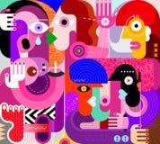 Ομάδα μεθυσμένης διανυσματικής απεικόνισης ανθρώπων ελεύθερη απεικόνιση δικαιώματος