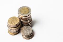 Ομάδα νομίσματος που απομονώνεται στο λευκό Στοκ Εικόνα