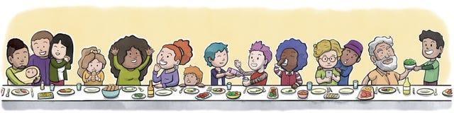 Ομάδα οικογένειας και φίλων που τρώνε σε ένα μεγάλο να δειπνήσει επιτραπέζιο αφηρημένο κίτρινο υπόβαθρο Στοκ φωτογραφία με δικαίωμα ελεύθερης χρήσης