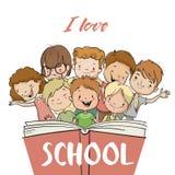 Ομάδα παιδιών με το βιβλίο διανυσματική απεικόνιση