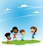 Ομάδα παιδιών που παίζουν υποθέτοντας το παιχνίδι διανυσματική απεικόνιση