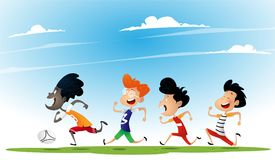 Ομάδα πολυφυλετικού ποδοσφαίρου παιχνιδιού παιδιών διανυσματική απεικόνιση