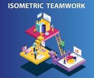 Ομάδα που εργάζεται μαζί για να τρέξει μια Isometric έννοια έργου τέχνης επιχείρησης διανυσματική απεικόνιση