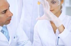 Ομάδα των επιστημονικών ερευνητών στο εργαστήριο που μελετά τις ουσίες ή το δείγμα αίματος Νέο εμβόλιο για τη φαρμακολογία indust Στοκ Εικόνα