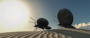 ομάδα των μυρμηγκιών που κινούν την τρισδιάστατη απεικόνιση πετρών στοκ φωτογραφία με δικαίωμα ελεύθερης χρήσης