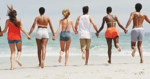 Ομάδα φίλων αναμιγνύω-φυλών που τρέχουν μαζί χέρι-χέρι στην παραλία 4k απόθεμα βίντεο