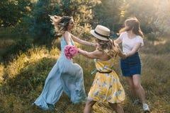 Ομάδα φίλων κοριτσιών που καθιστούν το πικ-νίκ υπαίθριο στοκ εικόνες