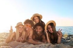 Ομάδα φίλων που έχουν τη διασκέδαση στην παραλία Έννοια του καλοκαιριού στοκ εικόνες με δικαίωμα ελεύθερης χρήσης