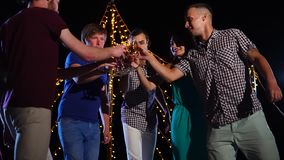 Ομάδα φίλων που χορεύουν και που έχουν το υπαίθριο κόμμα ποτών τη νύχτα απόθεμα βίντεο