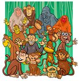 Ομάδα χαρακτήρων πιθήκων κινούμενων σχεδίων στοκ φωτογραφίες με δικαίωμα ελεύθερης χρήσης