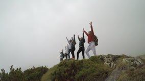 Ομάδα χαρούμενων ορειβατών στην κορυφή βουνών που αυξάνει την έννοια χεριών της επιτυχούς ομάδας - απόθεμα βίντεο