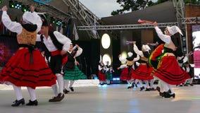 Ομάδα χορευτών από την Ισπανία στο παραδοσιακό κοστούμι απόθεμα βίντεο