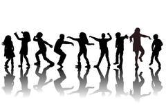 Ομάδα χορού σκιαγραφιών παιδιών διανυσματική απεικόνιση