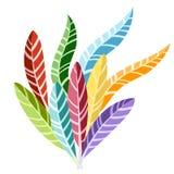 Ομάδα χρωματισμένων φωτεινών φτερών Επίπεδη διανυσματική απεικόνιση που απομονώνεται στο άσπρο υπόβαθρο διανυσματική απεικόνιση