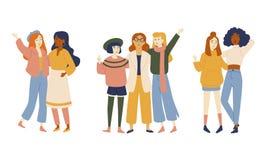 Ομάδες θηλυκών φίλων, πορτρέτο των νέων γυναικών ελεύθερη απεικόνιση δικαιώματος