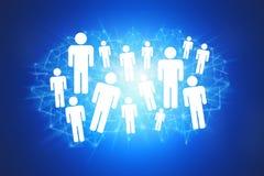 Ομάδα ανθρώπων εικονιδίων σε ένα technologic υπόβαθρο - conce δικτύων Στοκ Εικόνες
