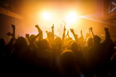 Ομάδα ανθρώπων που απολαμβάνει μια συναυλία στοκ φωτογραφίες