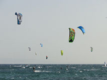 Ομάδα ανθρώπων που ασκεί kitesurf Στοκ εικόνα με δικαίωμα ελεύθερης χρήσης