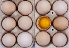 Ομάδα αυγών - ένα σπασμένος με το λέκιθο στην κορυφή. Στοκ Εικόνες