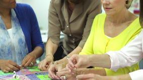 Ομάδα γυναικών που εργάζονται στο πάπλωμα από κοινού απόθεμα βίντεο